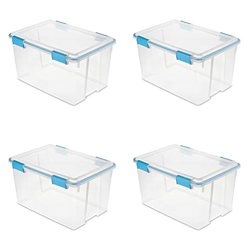 - Sterilite 19344304 54 Quart/51 Liter Gasket Box, Clear with Blue Aquarium Latches and Gasket, 4-Pack
