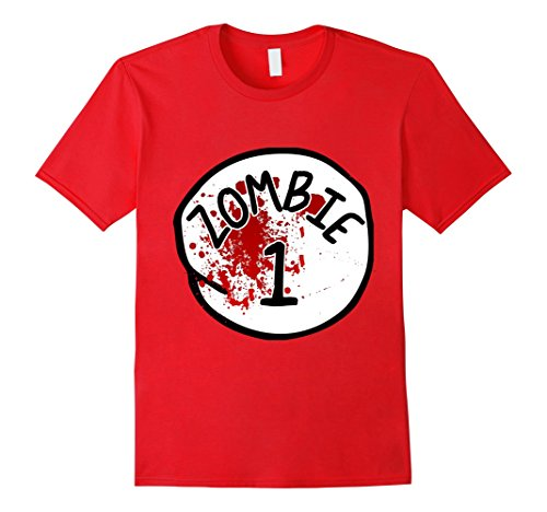 Zombie Couple Costumes (Mens Couples Zombie 1 Halloween Costume T-Shirt 3XL Red)