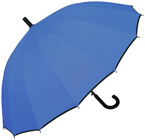 "RainStoppers Umbrella 46"" 16 Panel in Sky Blue with Black Trim, 46"" Arc"