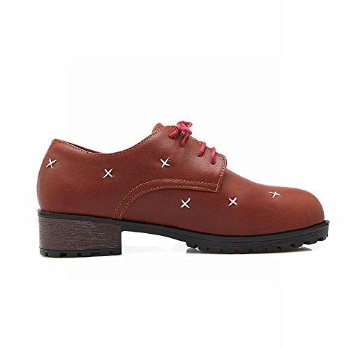Carolbar Mujeres Lace Up Fashion Comfort Casual Zapatos De Tacón Bajo Oxfords Marrón