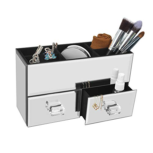 meetart Home Deluxe Silver Mirror Box Organizer Modern Storage for Cosmetic Makeup and Woman Jewelry 2 Drawer Tiered