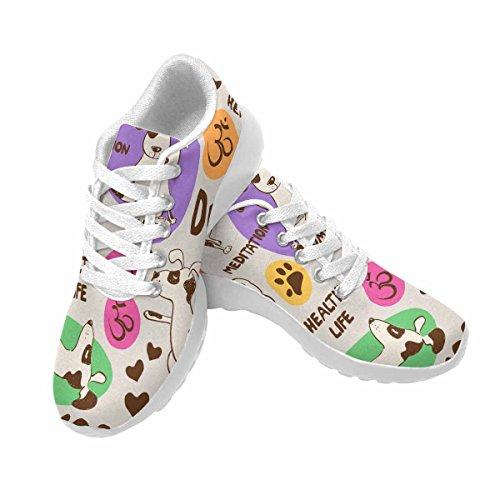 D-histoire Jogging Course Sneaker Yoga Chien Femmes Confort Décontracté Sport Marche Chaussures De Course Blanc