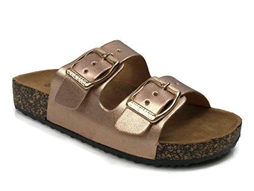 Big Buckle Sandals (Anna Kid's Double Strap Cork Sole Slide Sandal With Buckle, Rose Gold US M Big Kid 4)
