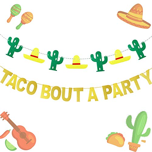 JeVenis Gold Glitter Taco Bout A Party Banner Mexican Fiesta Banner for Bachelorette Birthday Party Baby Shower Decorations ()