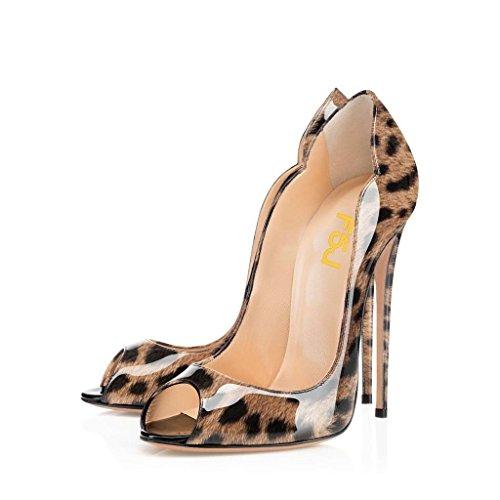 Fsj Vrouwen Glijden Peep Toe Hoge Hakken Pumps Sexy Stilettos Lakleder Schoenen Voor Feest Maat 4-15 Us Leopard