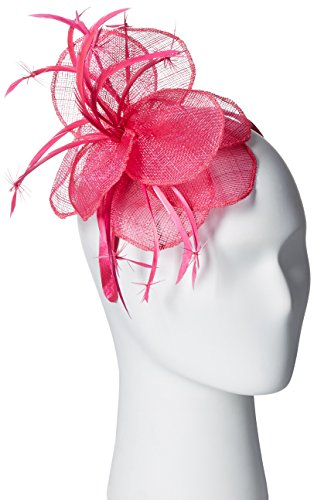 Scala Women's Sinamay and Flower Fascinator Headband, Fuchsia, One Size by Scala