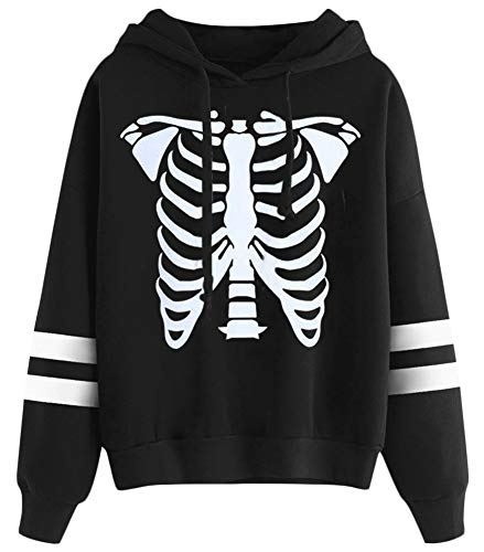Halloween Women Hoodies Skeleton Graphic Print Long Sleeve Pullover Sweatshirts Funny Striped Tops 2XL