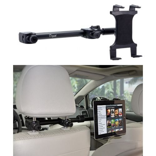 Premium Car Headrest Tablet Mount Backseat Holder Stand {Multi Passenger} Works with All Tablets - Apple iPad PRO Air Mini Samsung Tab A E S4 w/Anti-Vibration Swivel Cradle (7-15 inch displays) ()