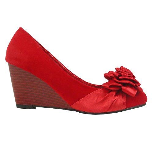 Scarpe Da Donna In Camoscio Con Faux Suede Con Rosette Fiore Rosso Rosso