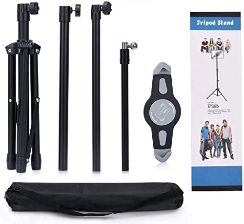Ruren Tripod Stand for IPad, Ruren Foldable Floor Height Adjustable Tablet Tripod Stand for iPad Mini, iPad Air, iPad 1,2,3,4 and All 8-12 Inch Tablets, Bluetooth Remote Control As Gift
