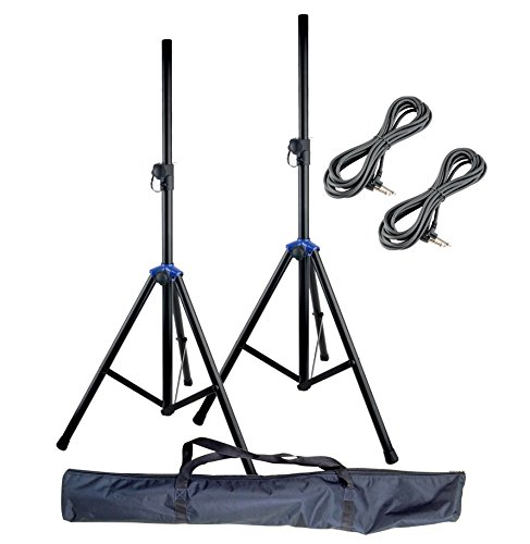 Knox Gear Pair of Heavy Duty, Aluminum, Adjustable Height, Speaker Stands with 2 1/4
