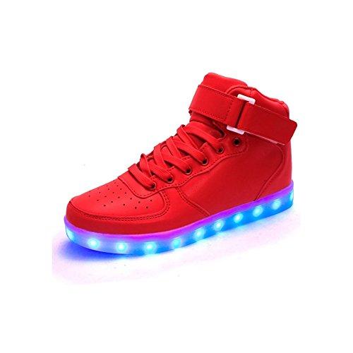 Joansam Kvinnor Och Män Med Hög Topp Usb-laddning Ledde Skor Blinkande Sneakers Rött