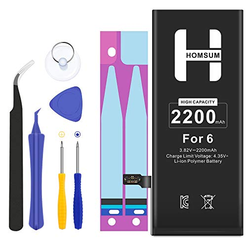 HOMSUM High Capacity Battery for iPhone 6, Include Complete Repair Tool Kits, Glue Adhesive & Instructions - Full 2200mAh 0 Cycle - 365 Days -