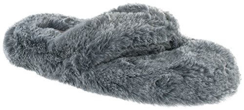 Chinese Laundry Ladies Tipped Fur Thong Fashion Slipper, Grey, XL 11-12