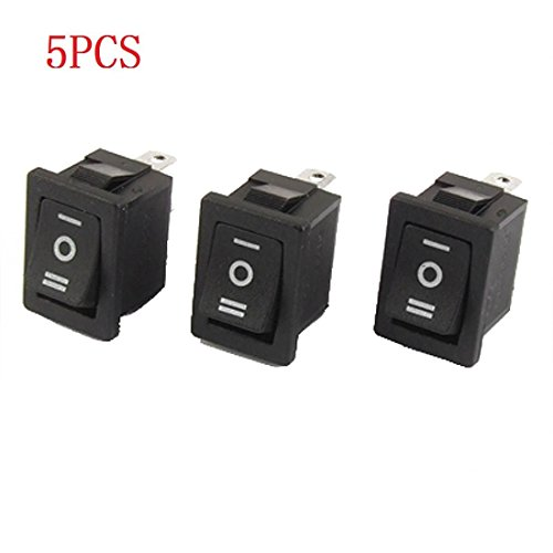 GFORTUN 5Pcs Black Plastic SPDT ON-OFF-ON 3 Position Snap In Boat Rocker Switch AC 250V/6A 125V/10A for Indurstrial and Automotive