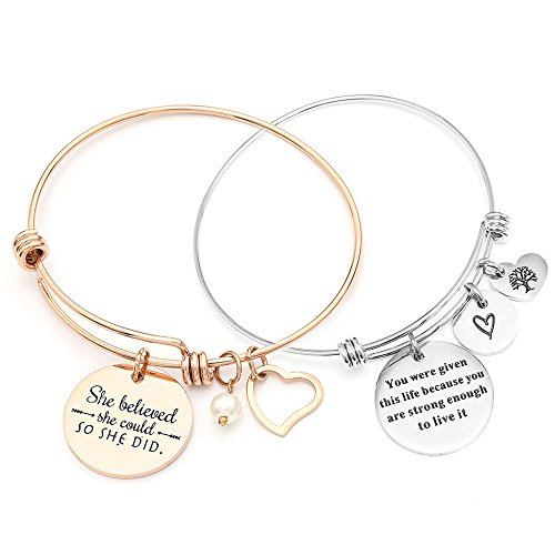 MIKINI Set of 2 Womens Stainless Steel Bracelets Engraved Message Motivational Inspirational Words Charm Adjustable Bracelets (Pack of 2-316L Stainless Steel- Rose Gold & Silver)
