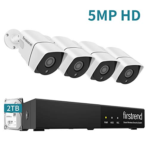 PoE Security Camera Systems,Firstrend 8CH 5MP PoE Systems with 4PCS 5MP Wired Cameras P2P PoE Home System with 2TB Hard Drive Installed Easy to Setup Free APP