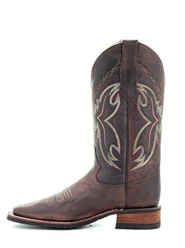 Western Boots Brown Embroidery G Circle Toe Chocolate Cowgirl Leather Square Women's Corral qzpH6Stx