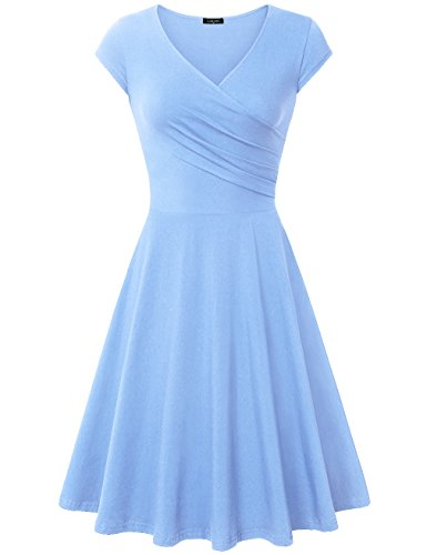 Laksmi Elegant Dresses, Womens Casual Dress A Line Cap Sleeve V Neck (Medium, (Blue Soft Dress)