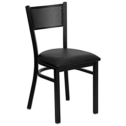Enjoyable Amazon Com Bowery Hill Metal Dining Chair In Black Vinyl Gmtry Best Dining Table And Chair Ideas Images Gmtryco