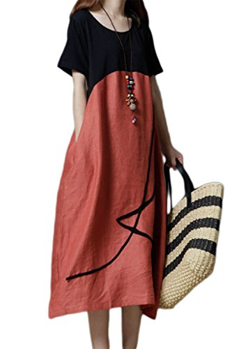 Vintage De Orange De Les D't Surdimensionn Maxi Coton Femme Shortsleeves Robes Robes pwqRFO