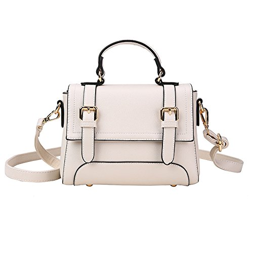 KING Messenger Main Type À Petit Classique Seau Épaule Pure Sacs Sac Retro Design PU White MIMI Casual Carré Cuir Color Simple En Mode Iqgw06xd
