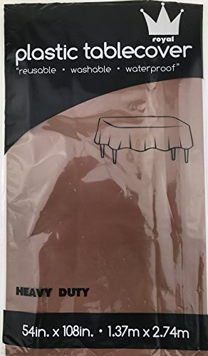 Royal 7 Pack of:3 Plastic Table Cloth 54 x 108, Plastic Party Table Cover, Reusable Plastic Table Cloth, Disposable Rectangular Table Cover (CHOCOLATE, 3) (Brown Covers Table)