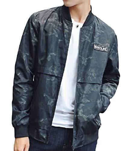 Zip Casuali Verde Del Giacca Militare Outwear Energymen Basamento Baseball Tasche Collare Sottile 6nwq0p