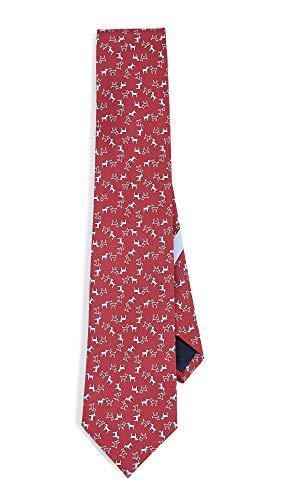 (Salvatore Ferragamo Men's Dog Print Classic Tie, Red/Blue, One Size )
