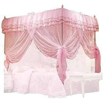 Amazon Com Pink Arched Four Corner Square Princess Bed
