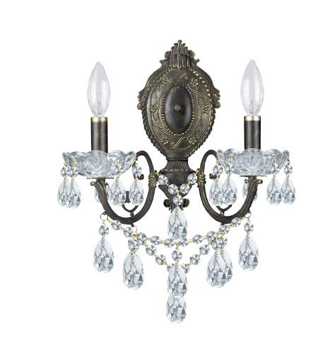 - Crystorama 5192-EB-CL-SAQ Crystal Accents Two Light Sconces from Legacy collection in Bronze/Darkfinish, 7.00 inches