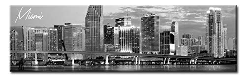 (DJSYLIFE- Panoramic Miami Skyline Wall Art Cityscape Picture Wall Decor Stretched Canvas Art Prints for Bedroom or Office, Framed and Ready to Hang,)