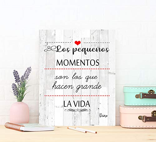 DCine Cuadro Frases/Frases positivas/Cuadro Madera/Regalo/Normas del hogar/Normas de la casa/Carteles Vintage/ 19 cm x…
