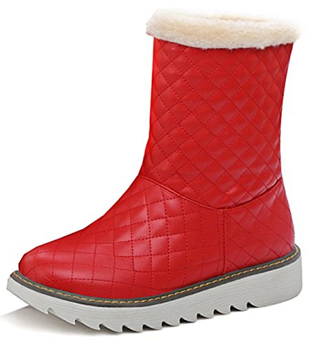 Easemax Women's Comfy Low Wedge Heel Round Toe Pull On Ankle High Snow Booties Red KbIWwViH6