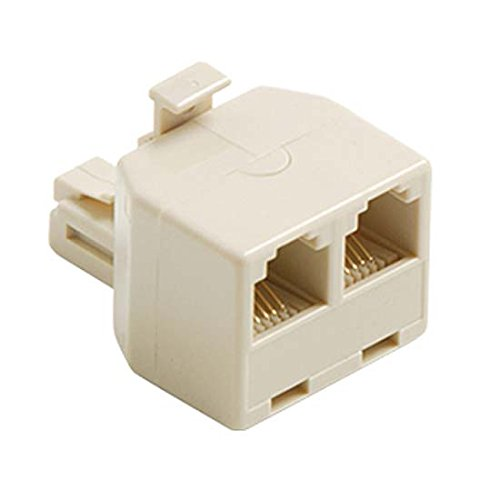 2-Way Wall Modular 6 Wire Phone Adapter RJ11 RJ12 White Dual T Splitter Line RJ-11 RJ-12 Twin 2 Outlet Telephone Plug Jack Duplex Converter Connection Snap-In