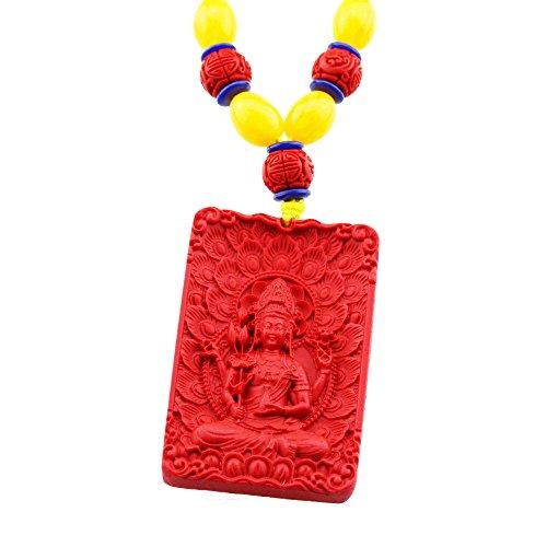 FOY-MALL Fashion Cinnabar Buddha Kwan-yin Pendant Beads Chain Necklace XL1257M]()