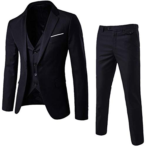 Button Black Worsted Wool Suit - LILINY Men's Slim Fit Suits Casual/Formal/Wedding Thin Skinny Solid Blazer Jacket 3 Piece Black