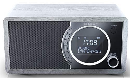 SHARP DR-450 (GR) DAB, DAB+ digitale radio, Bluetooth, FM-radio, alarm-/slaap- en snooze-functie, houtlook, grijs