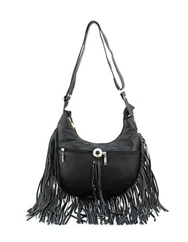 Genuine Black Leather Bag Hobo Messenger Fringe w0HvTqr0n