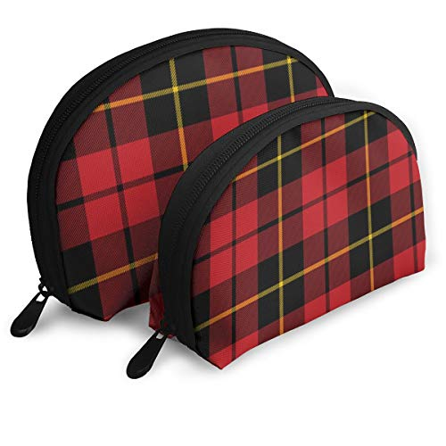 - Wallace Clan Red Tartan Shellfish Cosmetic Bag Shell Shape Portable Storage Bags Luxury Toiletry Pouch