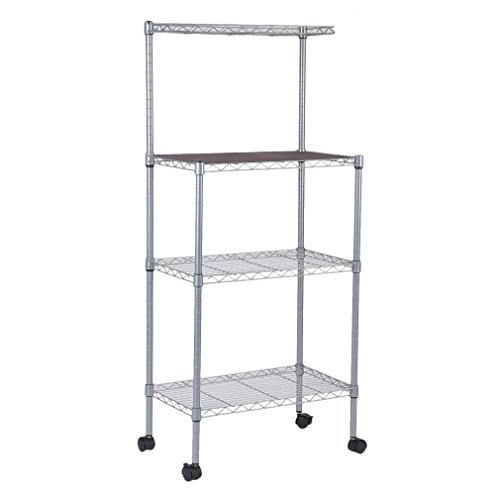 4-Tier Bakers Rack Microwave Stand Storage Rack, Adjustable Kitchen Bakers Rack Stainless Steel Microwave Oven Stand Household Storage Cart Workstation Shelf, Silver
