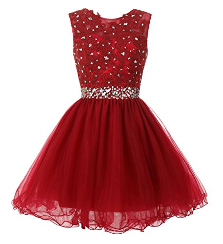 Mamilove Women's Tulle Short Applique Beading Formal Homecoming Cocktail Party Dress 2 Burgundy