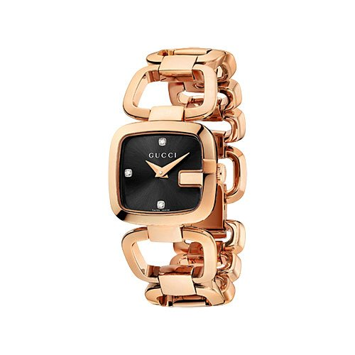 547a607b7 Gucci G Black Diamond Dial Rose Gold PVD Stainless Steel Ladies Watch  YA125512: Gucci: Amazon.ca: Watches