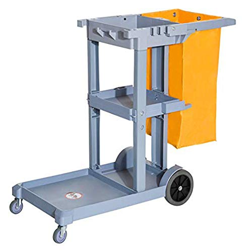 HomCom 3 Shelf Commercial Cleaning Rolling Janitor Cart with 25 Gallon Vinyl Bag