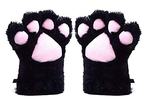 A&S Creavention Women Cat Bear Claw Paw Mitten Plush Glove Costume (Black) -
