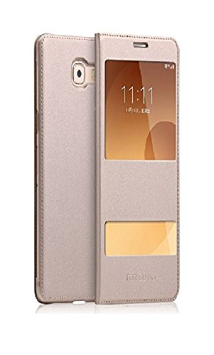 realtech pure leather window Flip Cover for samsung galaxy j7 prime 2   gold