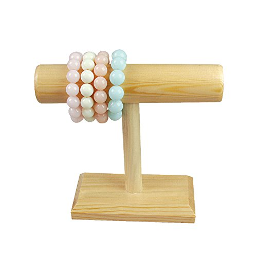 Review Ikee Design Natural Wood Single T-Bar Jewelry Display Stand Holder for Necklaces, Bracelets