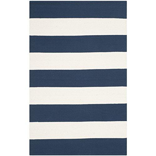 - Safavieh Montauk Collection MTK712H Handmade Flatweave Navy and Ivory Cotton Area Rug (2'6