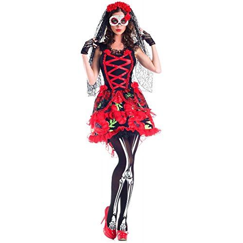 Plus Size Classic Beauty Costumes (Day of the Dead Floral Senorita Adult Costume)