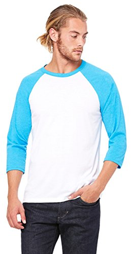 Bella + Canvas Unisex 3/4-Sleeve Baseball T-Shirt, Small, WHITE/NEON BLUE